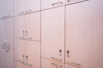 wood locker in changing room