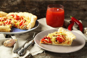 Vegetable pie with paprika, tomatoes and cheese