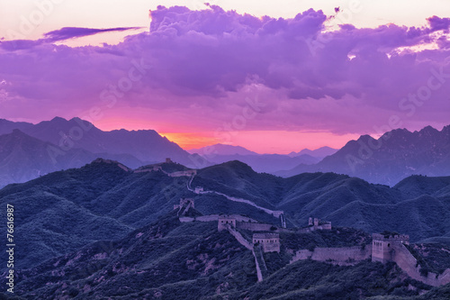 Fotobehang Beijing greatwall,the landmark of china,with sunset skyline
