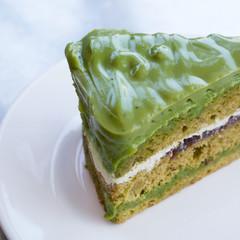 green tea layer cake close up