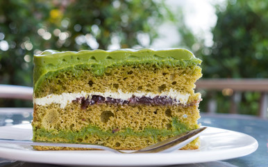 green tea layer cake close up