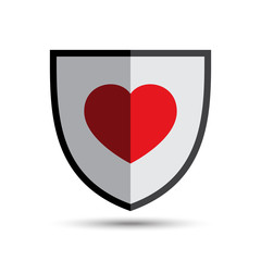 Vector Love Heart Shield Illustration