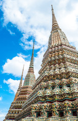 Thailand pagoda with blue sky background