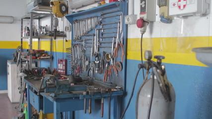 workbench of a auto mechanic - mechanic's workshop - garage - car repair shop -