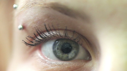macro of blue young eye - move - open - close - macro