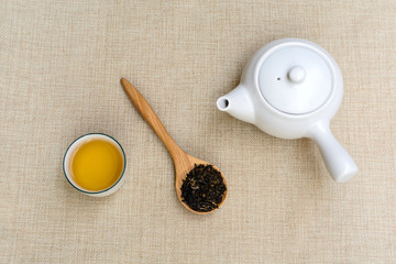 Cup of tea on sackcloth