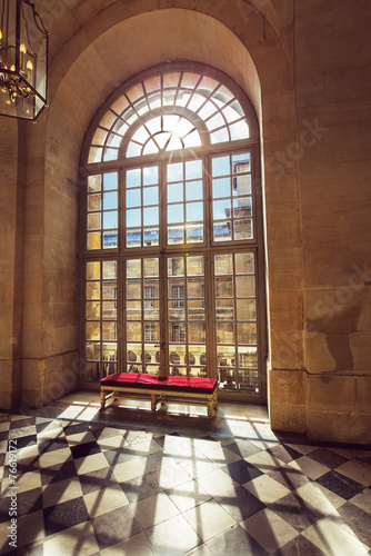 Luxury palace glass windows in Versailles palace,  France - 76619172