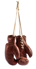 Pair of vintage brown leather boxing gloves