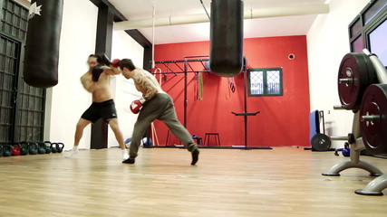 box workout in the gym - boxing match - boxe