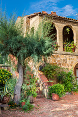 Beautiful porch in the ancient town in Tuscany