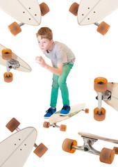Kind auf einem Longboard Skateboard