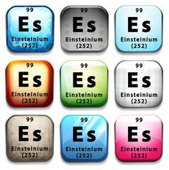 A button showing the element Einsteinium