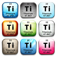 A button showing the element Titanium