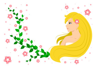 smiling blonde girl with green leaves and pink flowers