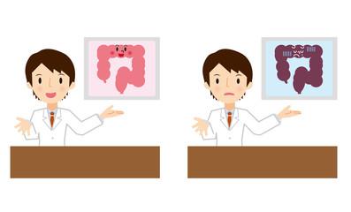 腸の説明をする医者
