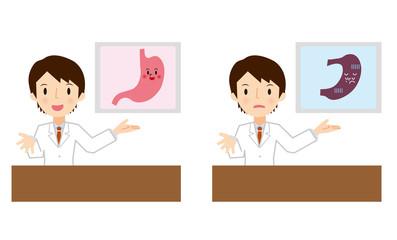 胃の説明をする医者