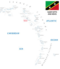 lesser antilles outline map with saint kitts and nevis