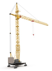 Construction crane isolated on white