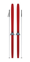 Red skis and sticks front view