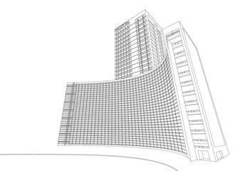 Wireframe hospital building on a white background