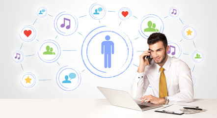 Business man with social media connection background