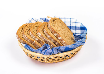 isolated basket of bread