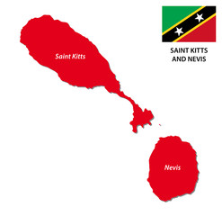 saint kitts and nevis map with flag