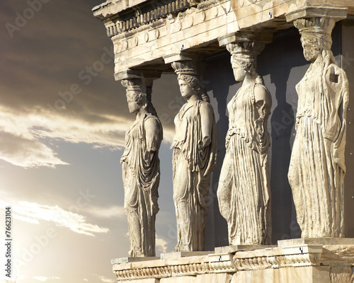 Plexiglas Athene Caryatids, erechtheum temple on Acropolis of Athens, Greece