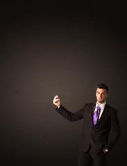 Businessman making gesutres