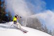 Skifahrer im Kunstschnee