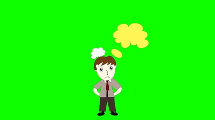 Business man thinking on a green background screen