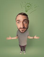 Big head person with idea bulb