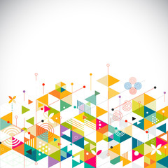 Abstract colorful and creative geometrical template on bottom