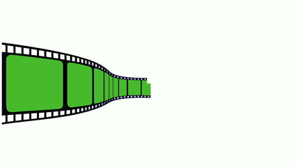 film animation, green screen on a white background.