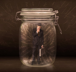Businessman inside a jar with powerful hand drawn lines concept