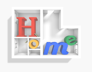 3d rendering of 'Home' word inside 3d plan apartment