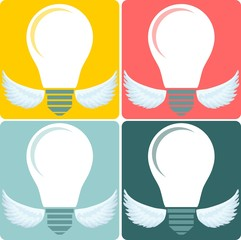 Icon Set light bulb lamp as emblem or logo, vector illustration