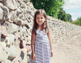 Summer, vacation, travel and people concept - pretty little girl