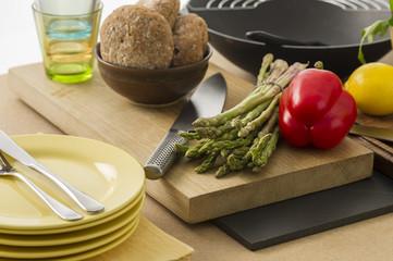 Preparing dinner with fresh vegetables