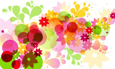 abstract background with circles and flowers