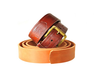Brown leather strap and Preform for manufacturing such  belt.