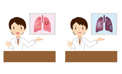 肺の説明をする医者