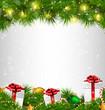 Shiny Christmas tree with gift boxes and led Christmas lights li