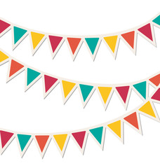 Set of multicolored flat buntings garlands isolated on white bac