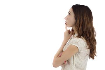Profile of woman thinking