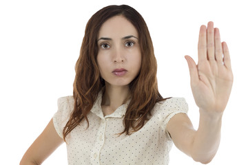 Woman showing stop sign with her hand