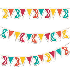 Multicolored buntings with carnival masks isolated on white back