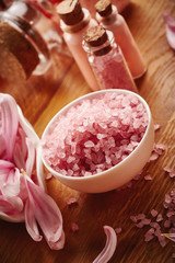 Spa with pink sea salt
