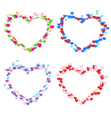 Four multicolored frames with hearts isolated on white backgroun