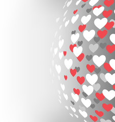 Abstract sphere with hearts on grayscale background